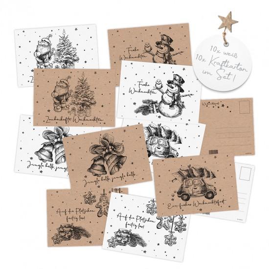 20 Weihnachtskarten, Postkarten aus Kraftpapier (Recyclingkarton) 10x weiß, 10x muskatfarben