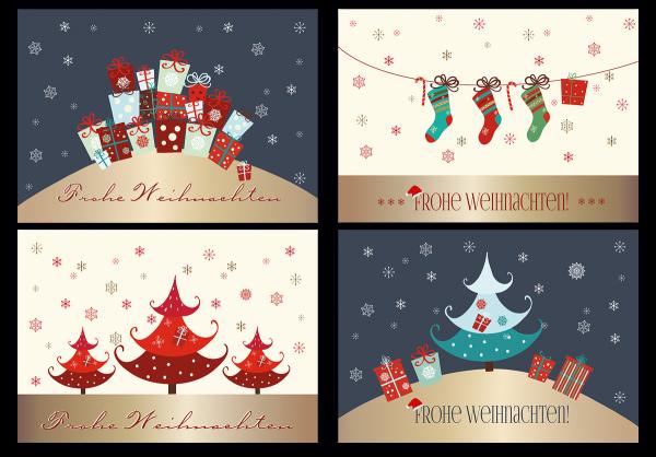 20 weihnachtskarten mit glanzeffekten glitzer 4 designs. Black Bedroom Furniture Sets. Home Design Ideas