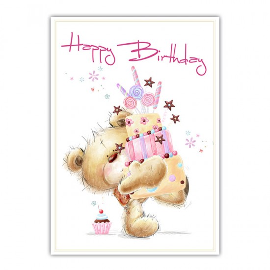"Geburtstagskarte - Postkarte ""Cuddly Bear"" Happy Birthday #2 . 10,5 x 14,8 cm"