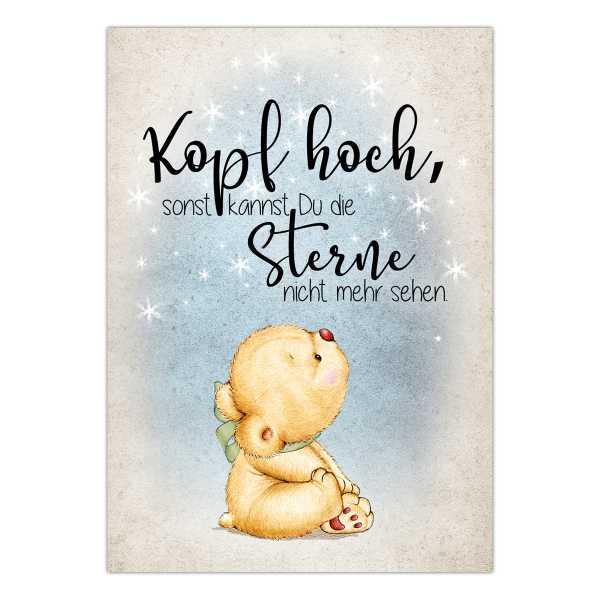 Postkarte Mit Spruch Kopf Hoch Sonst Kannst Du Die Sterne Nicht