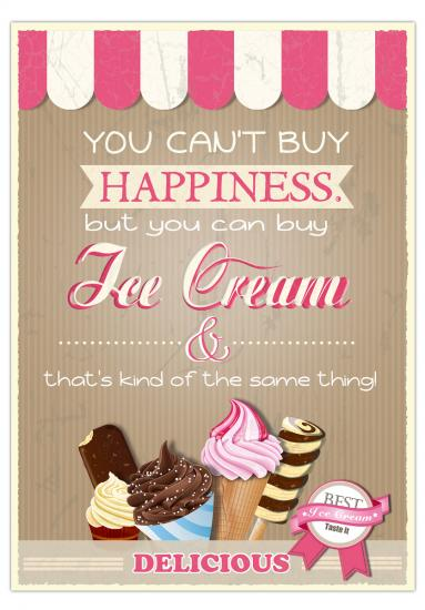 "Postkarte ""You can't buy happiness.. but you can buy ice cream and that's kind of the same thing!"", 10,5 x 14,8 cm - Kopie"
