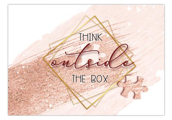 "Postkarte mit Spruch ""Think outside the Box!"",  14,8 x 10,5 cm"