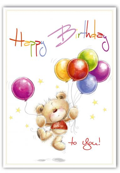 "Geburtstagskarte - Postkarte ""Cuddly Bear"" Happy Birthday 10,5 x 14,8 cm"