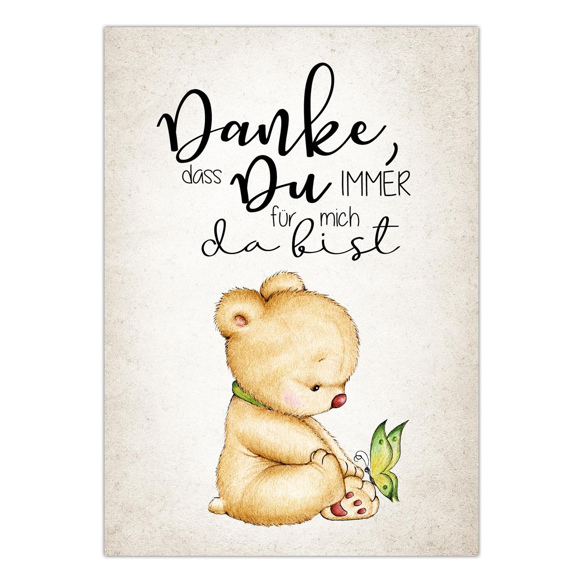 Postkarte mit Spruch Danke, dass Du immer für mich da