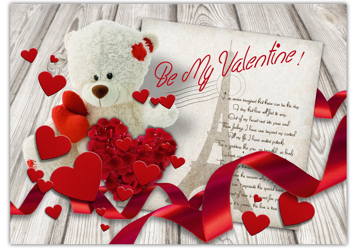 Karte Zum Valentinstag Be My Valentine Teddy