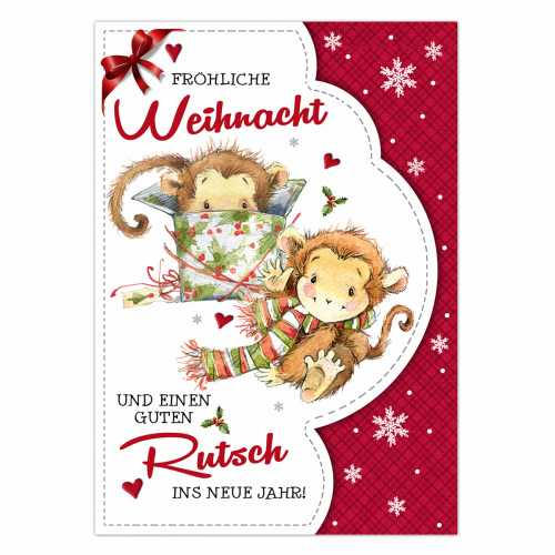 "Postkarte ""Cute Monkey Christmas #1"" 10,5 x 14,8 cm"