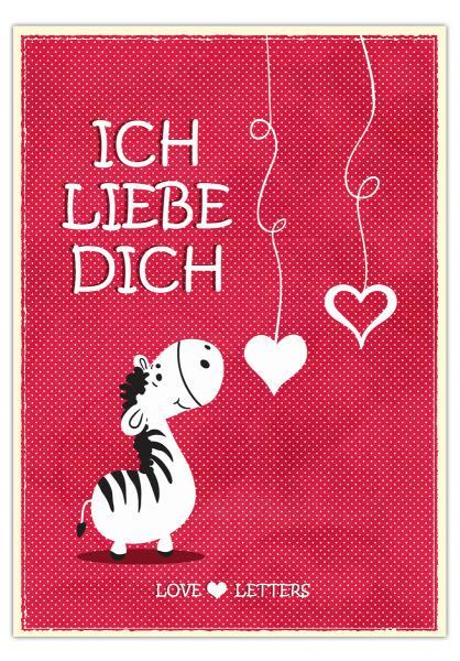 Postkarte Ich liebe Dich - Zac das Zebra 10,5 x 14,8 cm